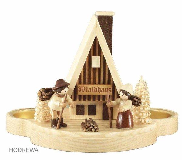 Rauchhaus Waldhaus mit Teelicht HODREWA - 12cm