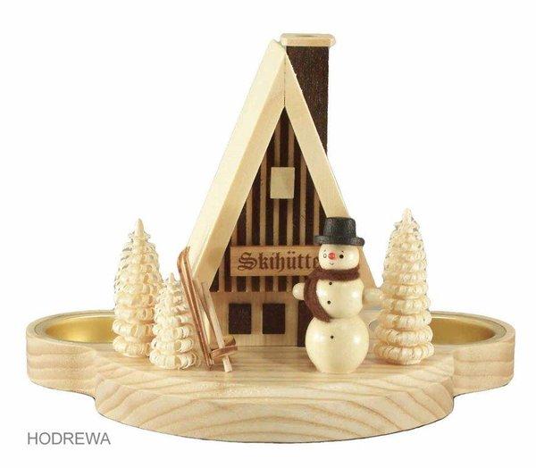 Rauchhaus Skihütte mit Teelicht HODREWA - 12cm