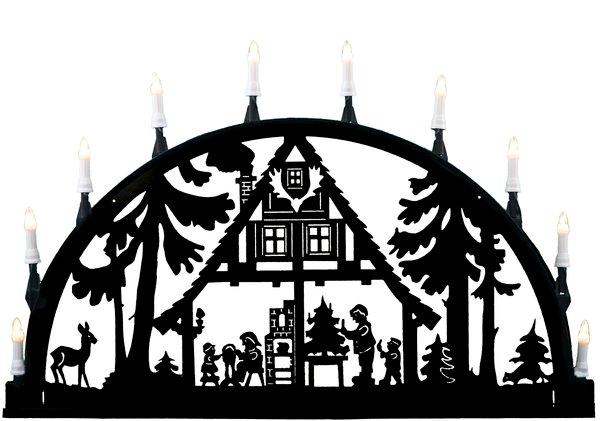 "Metallschwibbogen ""Waldhaus"" aus Aluminium 10 Kerzen"