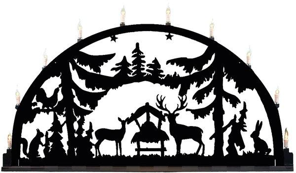 """Metallschwibbogen """"Wald"""" aus Aluminium 10 Kerzen"""