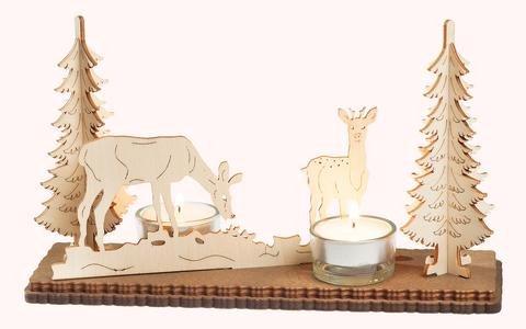 """Leuchter 2 Teelichte """"Waldmotiv"""""""
