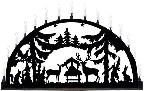 """Metallschwibbogen """"Wald"""" aus Aluminium 15 Kerzen"""
