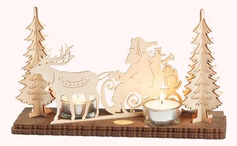 """Leuchter 2 Teelichte """"Weihnachtsmann mit Rentier"""""""