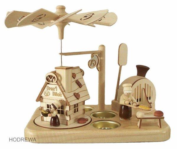 Räucherpyramide Brezelbäckerei mit Teelicht HODREWA - 19cm
