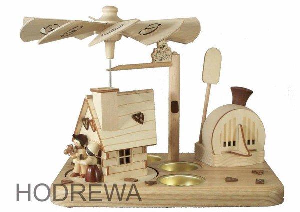Räucherpyramide Hänsel und Gretel mit Teelicht HODREWA - 18cm