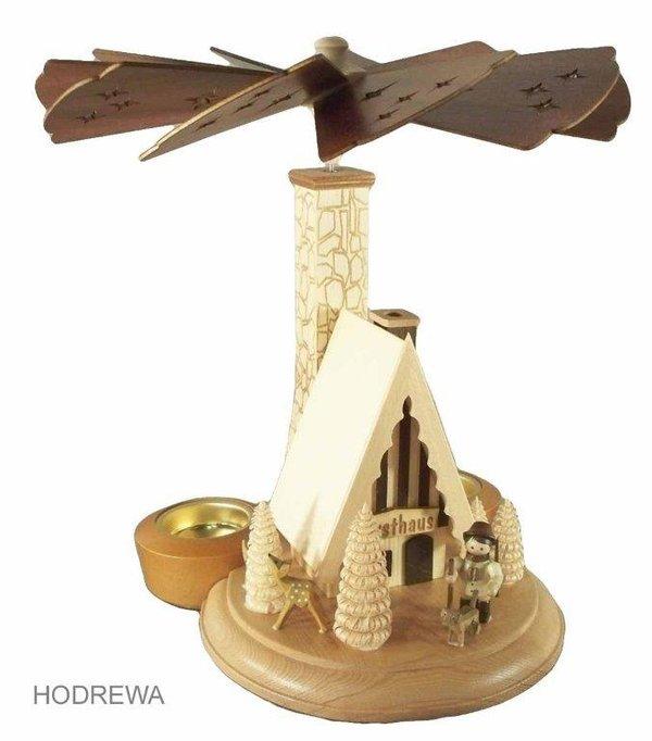 Räucherpyramide Forsthaus mit Teelicht HODREWA - 26cm