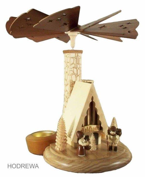 Räucherpyramide Waldhaus mit Teelicht HODREWA - 26cm