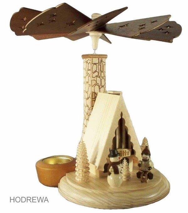 Räucherpyramide Skihütte mit Teelicht HODREWA - 26cm