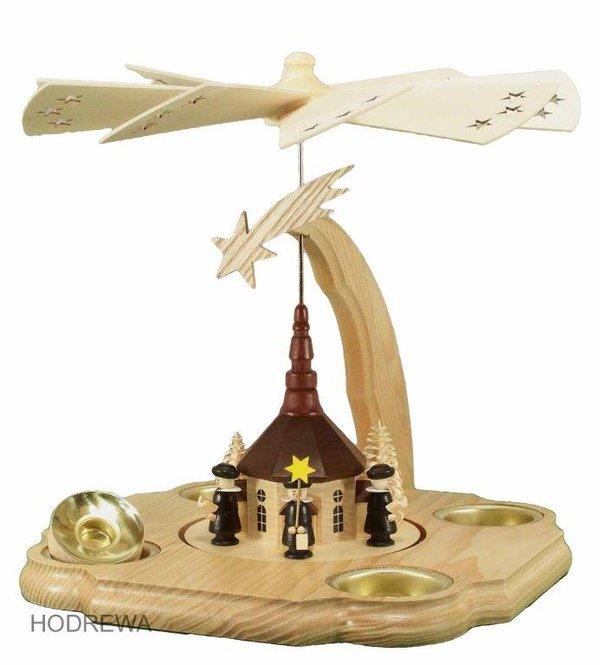 Pyramide mit Kirche Teelicht und Kerze HODREWA - 25cm