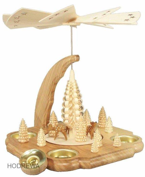 Pyramide mit Rehe Teelicht und Kerze HODREWA - 25cm