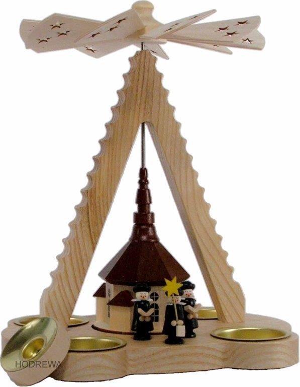 Pyramide Spitze Kirche mit Teelicht und Kerze HODREWA - 24cm
