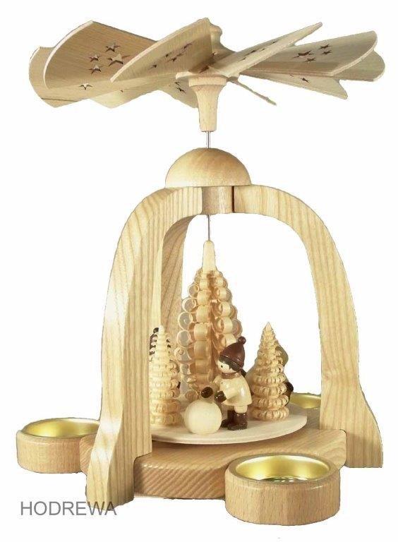 Pyramide Schneeball mit Teelicht  HODREWA - 22cm