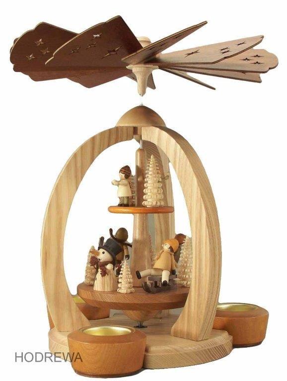 Pyramide Winterkinder doppelstöckig mit Teelicht und Kerze HODREWA - 28cm