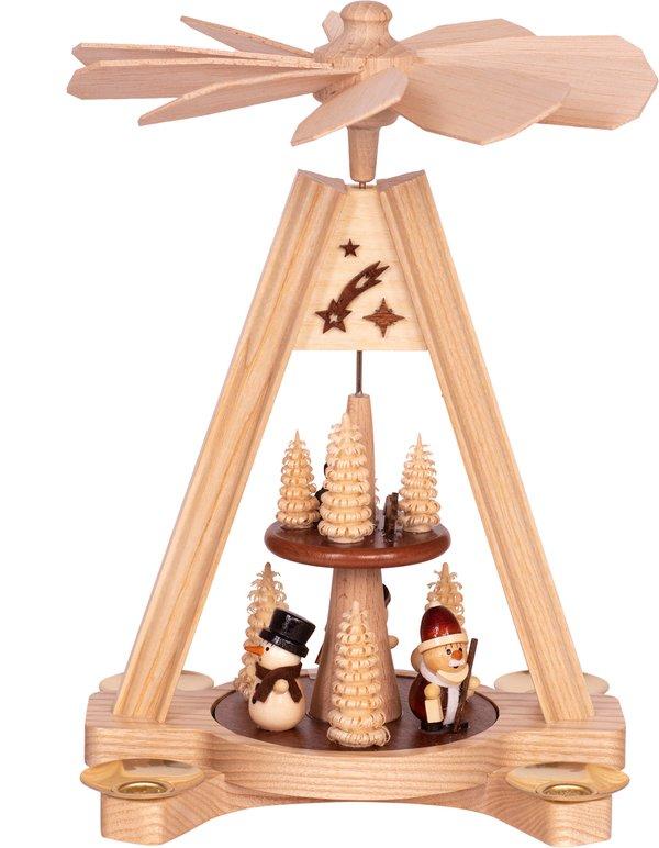 """Premium Tischpyramide 2-stöckig """"Schneemann und Weihnachtsmann""""  SAICO - 24 cm"""