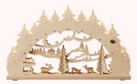 """3D-Lichterbogen """"Wald"""" mit geschnitzen Figuren"""