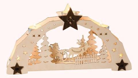 """Leuchter 5 Teelichte """"Weihnachtsmann mit Schlitten"""""""