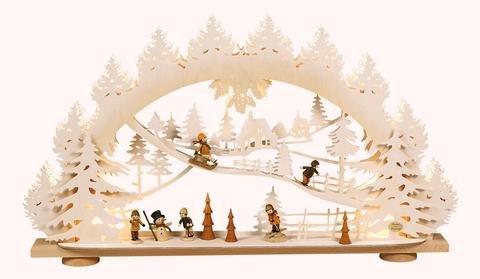 """3D-Lichterbogen """"Kinder im Schnee"""" mit Raureif"""