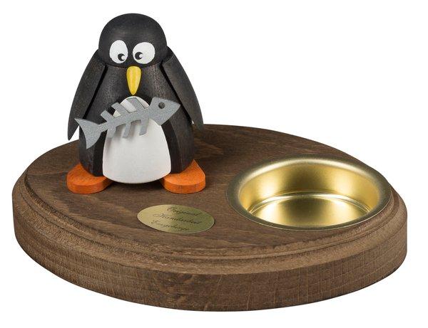 """Leuchter 1 Teelicht """"Pinguin mit Fisch"""""""